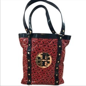 Tory Burch Patent Red Navy Classic Tote Gold Logo